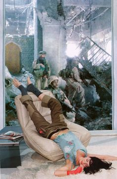 Martha Rosler, Lounging Woman from House Beautiful: Bringing the War Home, New Series, photomontage, C-print, 2004