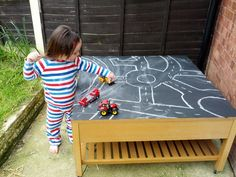 Chalkboard Table for outside.  Too cute!!!