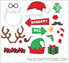 FREE Printable Photo Booth Props - would be cute to use with our elf!