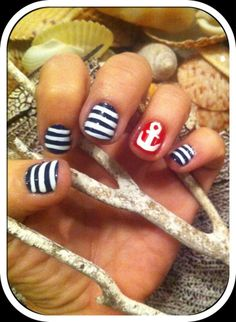 Nautical nails are perfect for summer