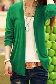 long sleeve solid green cardigan