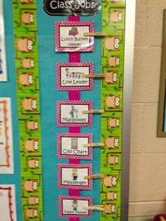 Classroom jobs chart, classroom organization  from Trendy Tales of a Teacher