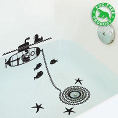 baths, tubs, save water, bathtub art, water walls, bathroom designs, wall stickers, kid bathrooms, vinyl decals