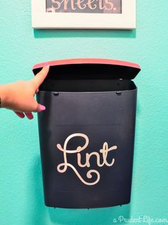 DIY Wall-Mounted Laundry Room Lint Bin. Lint has many uses including fire starters.