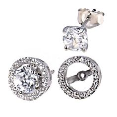 Kristina: 6mm CZ Stud Earrings with Matching Earring Jacket 925 Silver, free shipping, $39