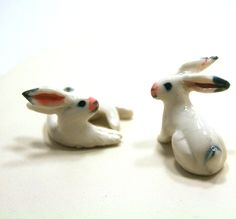 rabbit figurine - white rabbit pair animal figurine