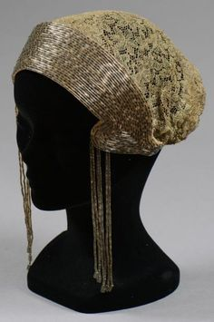 Embroidered cap silver sequins and gold lace, circa 1920