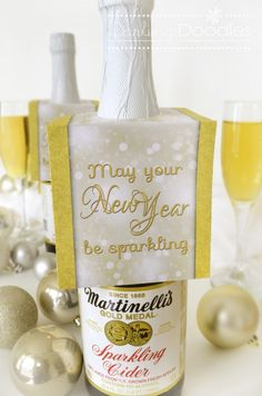 "Wishing you a ""Sparkling"" New Year. Fun, simple friends/neighbors holiday gift or party favor."