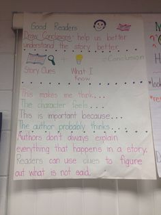 Drawing conclusions anchor chart.