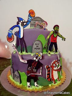 The Regular Show Zombocalypse Cake ,fondant, gum paste, hand cut and freehand painted. | #zombies #mordecai #rigby #graveyard comedy central.