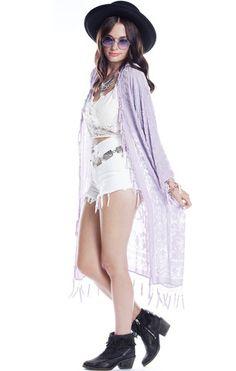Gypsetter Brocade Velvet Burnout Tassel Kimono - Lavender - Saltwater Gypsy #saltwatergypsy #kimono