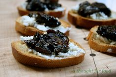 fig and balsamic jam and goat cheese crostini