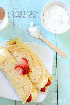 coconut cream & strawberry crepes   colormemeg.com