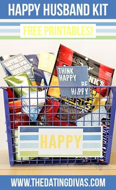 Happy Husband gift basket! I can't wait to make this!! Free printables!
