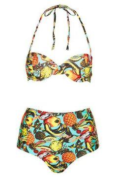 Love! Tropical print high rise bikini.