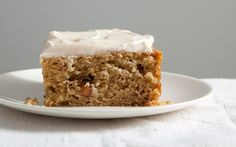 Spiced Applesauce Cake with Cinnamon Cream Cheese Frosting by gourmet: Mmm cinnamon, ginger, cloves and brown sugar, perfect for fall. #Applesauce_Cake #Cinnamon_Cream_Cheese_Frosting #gourmet