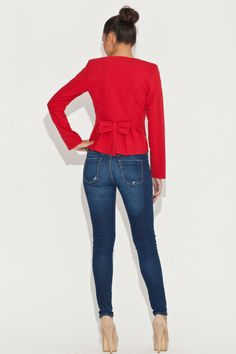 Veste casual rouge, manches longues - Mademoiselle Grenade -