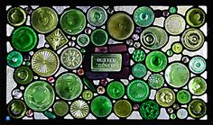 """DM Stained Glass """"Housewares Graveyard"""" -- created from bottles & glassware headed for the landfill."""