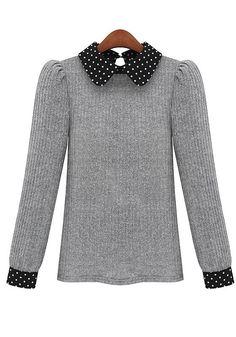 Grey Patchwork Peter Pan Collar Wool Blend Sweater