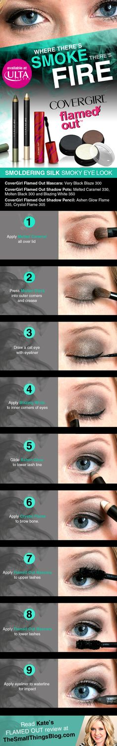 Smoldering Silk Smoky Eye Tutorial featuring CoverGirl Flamed Out products from Ulta Beauty http://www.thesmallthingsblog.com/2013/06/10-quick-steps-to-smoky-eye.html