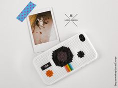Polaroid cross stitch case for iPhone 4 and iPhone by LanasCrespo, $25.00