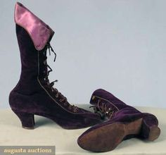 PURPLE VELVET HIGH LACED BOOTS, 1890s