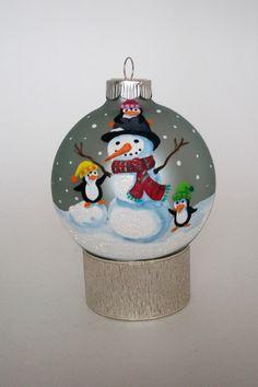 Hand Painted Christmas Ornament: Snowman w/ Penguins II. $25.00, via Etsy.
