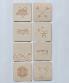 Colin the Fox 2x2 Wood Veneer Tile Set by ItsLikeThisLLC on Etsy, $3.99