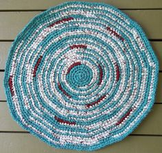 Crochet Cotton Rag Rug - Rag Rug - Housewares - Turquoise - Red - Crocheted Rug - Round - Country - Primitive - Cottage - Farmhouse. $55.00, via Etsy.