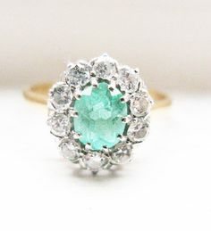 Vintage Edwardian style Emerald & Diamonds Engagement Ring - Diamond Ca 0.45ct
