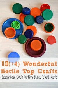 Bottle tops make a great FREE craft resource for the classroom. Some of these ideas may work really well in groups. bottle caps, bottl top, art blog, 10 wonder, bottles, top craft, craft ideas, crafts, wonder bottl