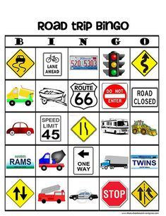 Car trip bingo!