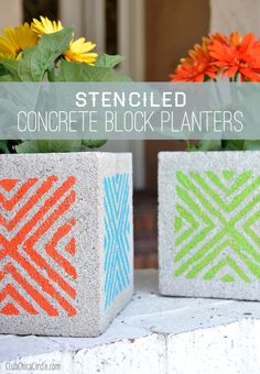 Stenciled Concrete Block Planters Craft idea