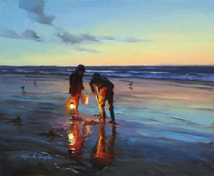 Mark Boyle, painting of an evening beach