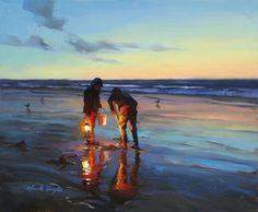 Mark Boyle, painting of an evening beach