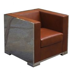 Glossy Armchair with Leather Upholstery - Sofas + Pouffes + Lounge Seating - Living
