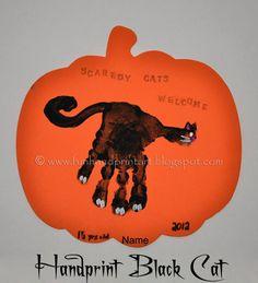 Handprint Black Cat Halloween Craft  -Repinned by Totetude.com