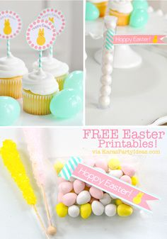 Free printable Easter tags and cupcake toppers from Kara's Party Ideas #easter #freeprintables