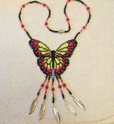Beaded Butterfly Necklace by RiverLynxBeads