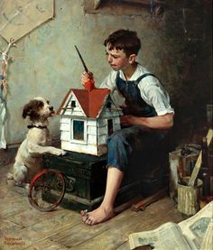 """Painting The Little House"" - by Norman Rockwell"