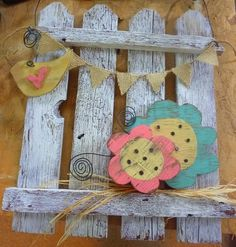 Spring Picket Fence Decor, add painted wooden designs to movable gate