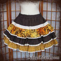 Brown clocks steampunk skirt by ichigoblack on Etsy, $70.00