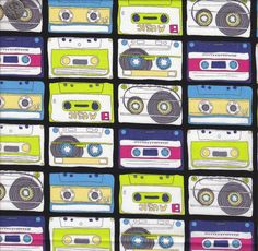 Timeless Treasures Cassette Tapes. $9.50....This funky fabric brings you right back to the 80's! Fun for quilts or other sewing projects - try pillowcases, potholders or a fun bag! quiltsandwich.etsy.com