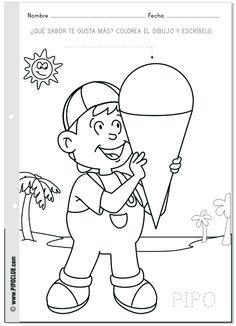 ¿Cuál es tu helado favorito? #Pipo #colorear #helados #verano #actividad #preescolar #primaria