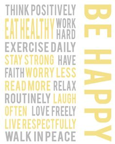 Gray white yellow wall art, Be happy positive life quotes, inspirational art decor, words to live by, living room art, housewares. $15.00, via Etsy.