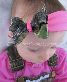 Mossy Oak BreakUp CAMO and Hot Pink Hair Bow by LilCountryCousins, $3.95