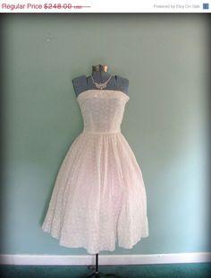 vintage 50's cotton eyelet tea length wedding dress $223