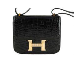 Hermes Black Alligator Constance with Diamonds Bag