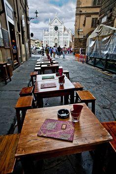 Cafe in alley across