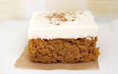 Pumpkin Bars with Cream Cheese Frosting Only had 2 eggs, substituted 1/2 cup Greek yogurt for the other 2, used a such if butter because i didn't have oil and only used 1 1/2 cups sugar and 1/3 stick butter with the cream cheese for the frostinng. And it was great. - A